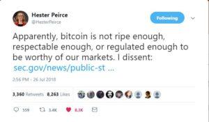 bitcoin etf hester peirce sec